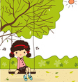 Cute girls in garden vector