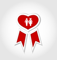 Award ribbon with human icons for valentines day vector
