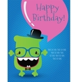 Hipster monster birthday card vector