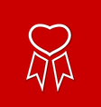 Red award ribbon for valentines day vector