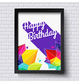 Abstract happy birthday card black frame on brick vector