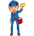 A coloured sketch of a postman vector