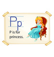 A letter p for princess vector