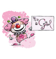 Clown holding an its a girl card vector