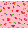 Seamless pattern with various colorful hearts vector