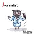 Alphabet professions owl letter j - journalist vector