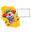 Clown holding business card vector