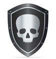 Black shield with skull vector