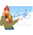 Girl reports about winter sport on the background vector