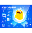 Bright emblem and coffee on blue background vector