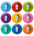 Rounded icons with cold refreshing drinks vector