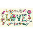 Color flowers and letters - love vector