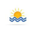 Sun and sea icon color vector