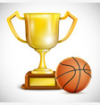 Golden trophy cup with basketball vector