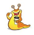 Slug with a cup of coffee vector