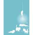 Playful white cats card vector