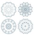 Set of blue guilloche rosettes vector