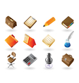 Isometric-style icons for office vector