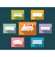 Colorful rail road icons set vector