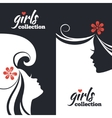 Set of beautiful women silhouettes vector
