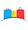 Three multicolored shopping bags like emblem vector