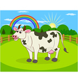 Cartoon cow and rural meadow vector