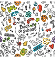 Seamless pattern with many school supplies vector