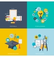 Flat concept education backgrounds set back to vector