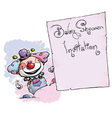 Clown holding invitation baby shower vector