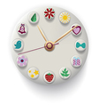 Clock hand made with colorful button vector