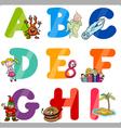 Education cartoon alphabet letters for kids vector