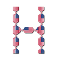 Letter h made of usa flags in form of candies vector