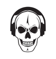 Jolly skull with headphones isolated object vector