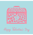Chest with hearts happy valentines day card blue vector