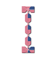 Letter i made of usa flags in form of candies vector