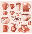 Watercolor vintage cups of coffee vector