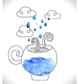 Tea cup with clouds and rain vector