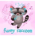 Funny raccoon poster vector