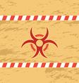 Retro red biohazard on yellow background vector