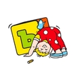 Child playing with dice sign vector