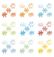 Made from four colorful puzzle pieces vector