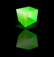 Green glass cube on a smooth surface vector