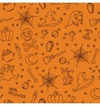 Happy halloween seamless pattern with pumpkins vector