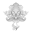 Dainty black and white floral element vector