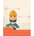 Builder man is building a brick wall vector