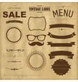 Set of vintage badges with paper background vector