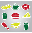Fast food stickers set eps10 vector