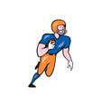 American football player rusher run cartoon vector