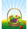 Fruit basket in the meadow vector