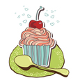 Card with tea and cupcakes vector